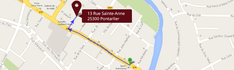 Plan Google Map transfert magasin Sport Aventures
